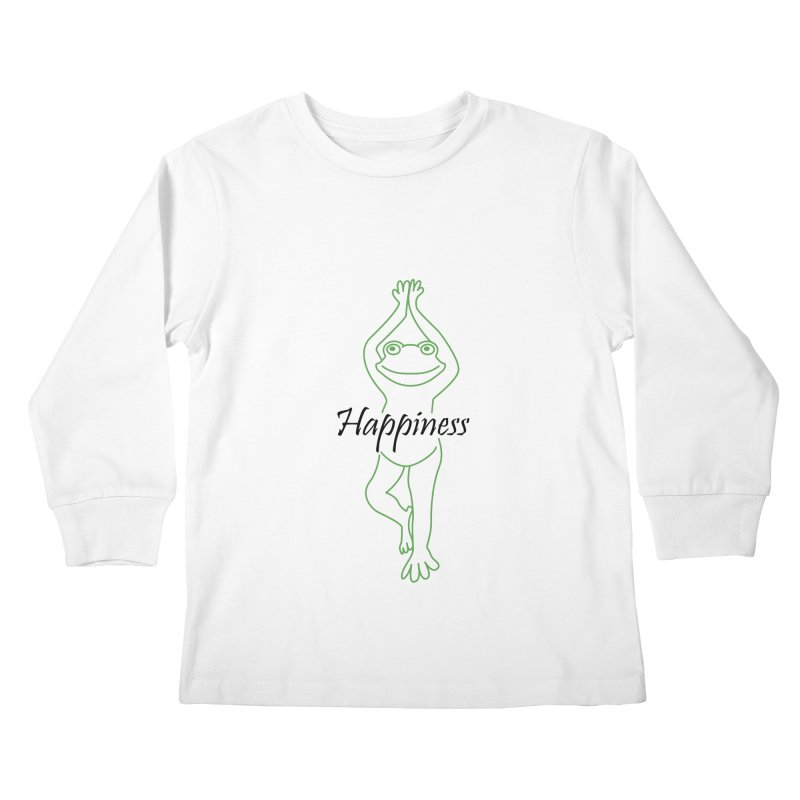 Yoga Frog Happiness Kids Longsleeve T-Shirt by Yoga Frog's Artist Shop