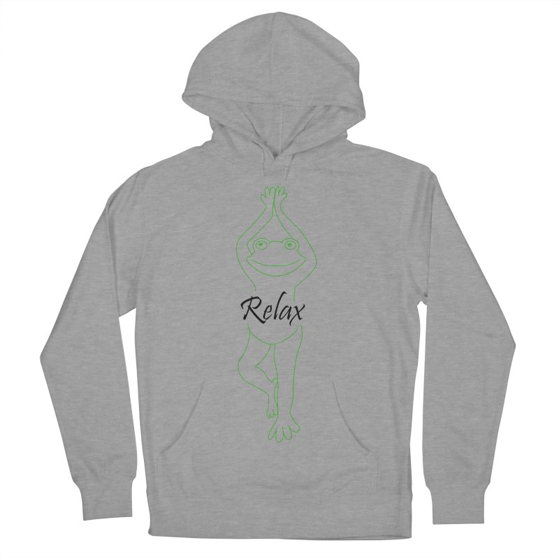 Yoga Frog Relax Women's French Terry Pullover Hoody by Yoga Frog's Artist Shop