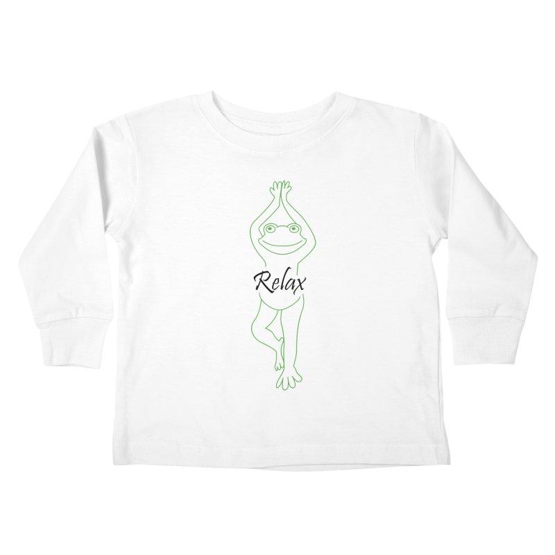 Yoga Frog Relax Kids Toddler Longsleeve T-Shirt by Yoga Frog's Artist Shop