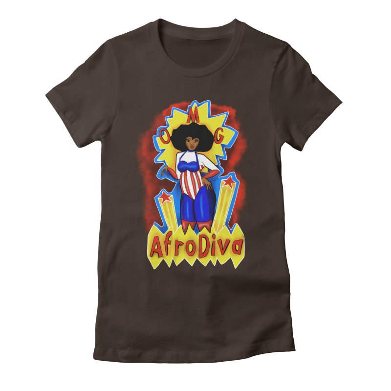 Afro Diva Women's Fitted T-Shirt by YoonekleeDesign's Artist Shop