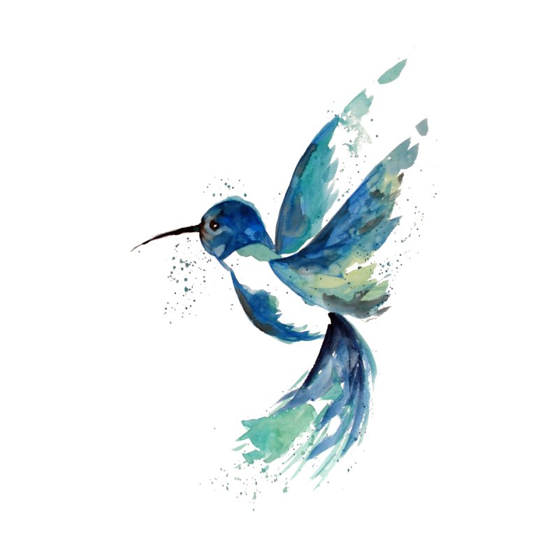 Blue Hummingbird Watercolor by ZeichenbloQ's Artist Shop