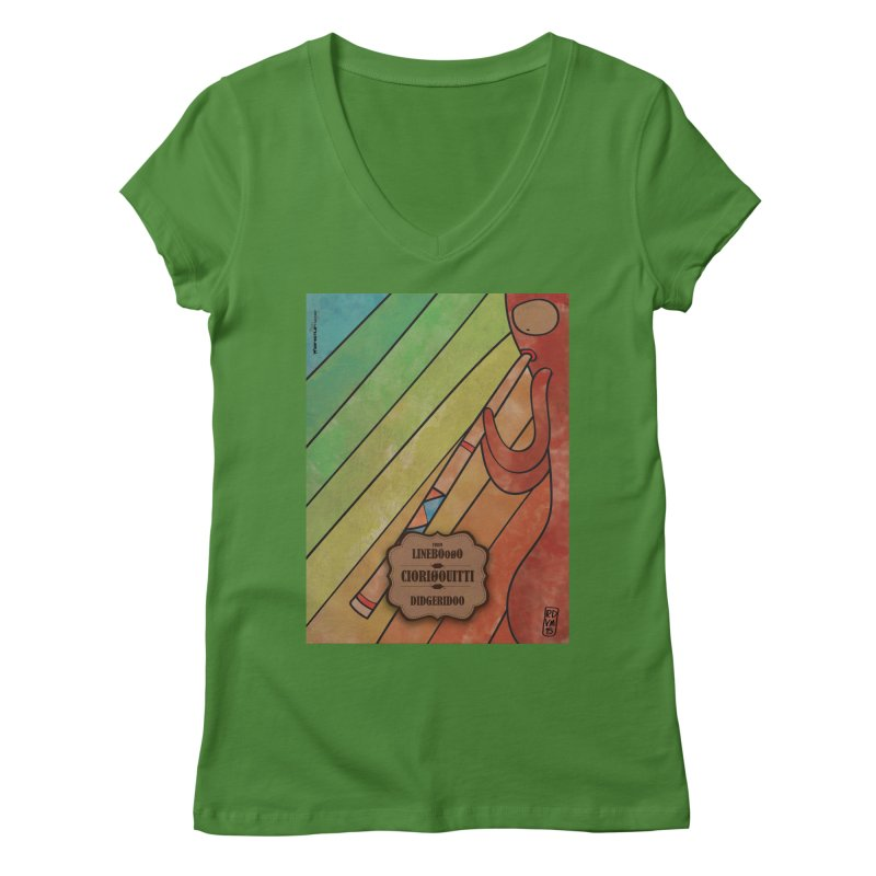 CIORI00UITTI_Didgeridoo in Women's V-Neck Leaf by ZEROSTILE'S ARTIST SHOP