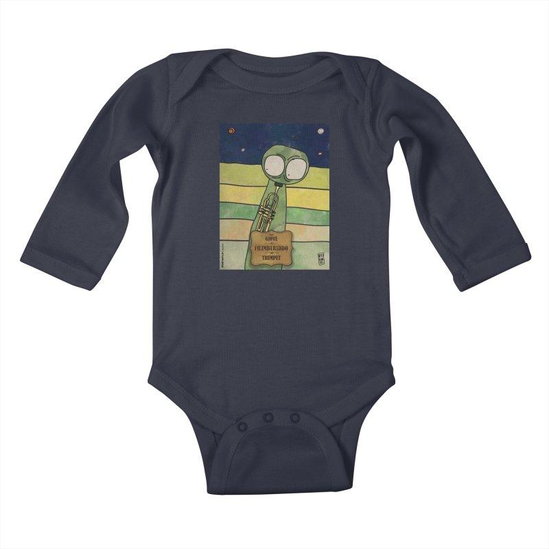 FILIMBERIDDO_Trumpet Kids Baby Longsleeve Bodysuit by ZEROSTILE'S ARTIST SHOP