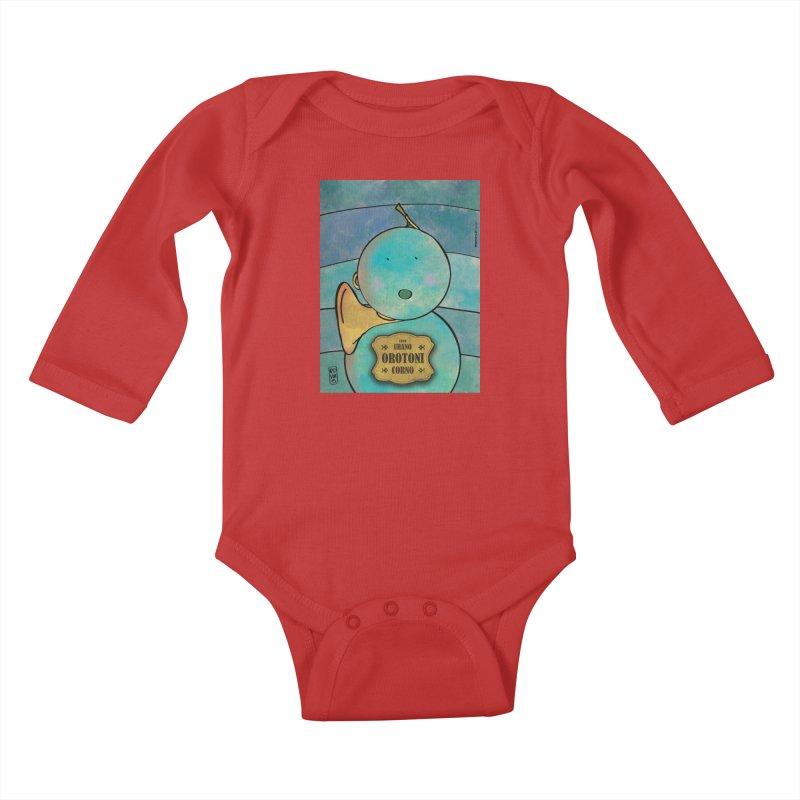 OROTONI_Corno Kids Baby Longsleeve Bodysuit by ZEROSTILE'S ARTIST SHOP