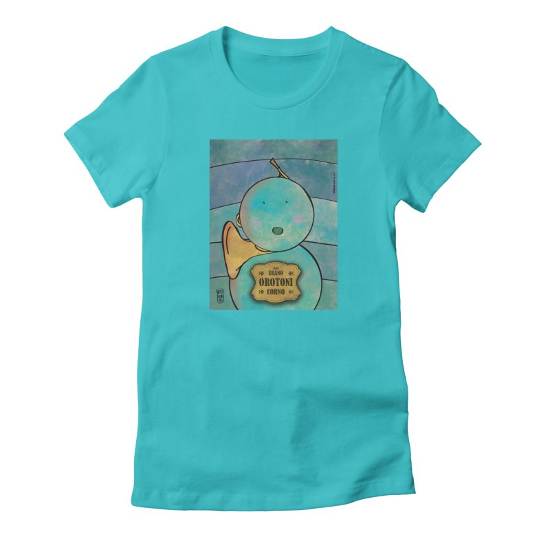 OROTONI_Corno in Women's Fitted T-Shirt Pacific Blue by ZEROSTILE'S ARTIST SHOP