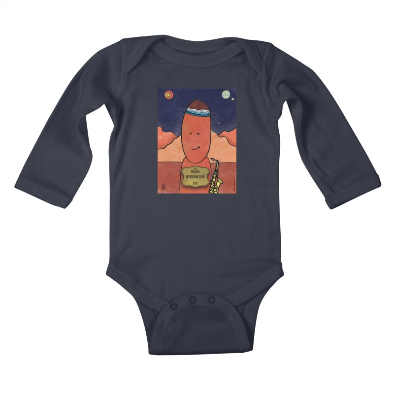 OVIDIOLLINIS_Sax Kids Baby Longsleeve Bodysuit by ZEROSTILE'S ARTIST SHOP