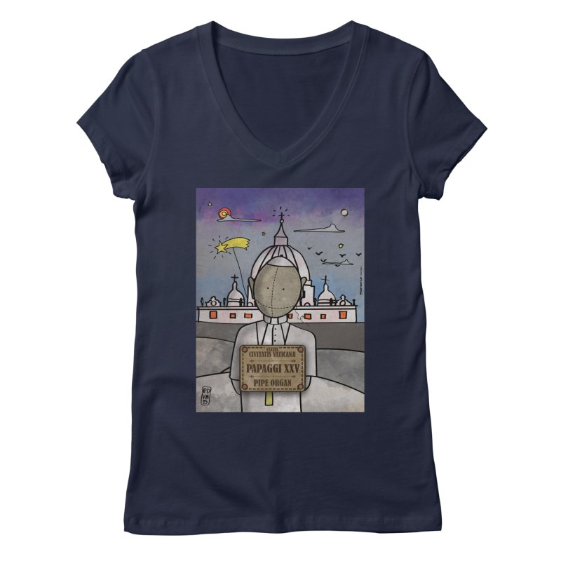 PAPAGGI XXV_Pipe Organ Women's Regular V-Neck by ZEROSTILE'S ARTIST SHOP