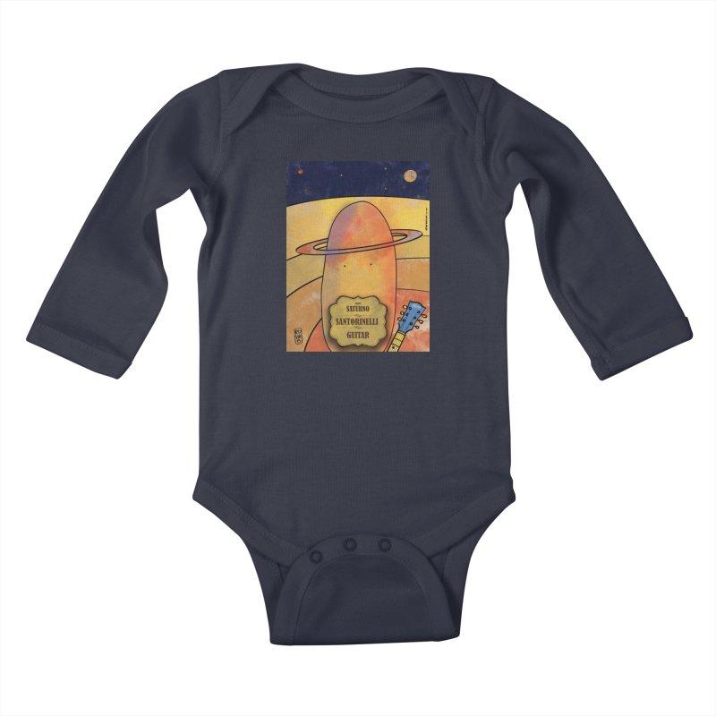 SANTORINELLI_Guitar Kids Baby Longsleeve Bodysuit by ZEROSTILE'S ARTIST SHOP