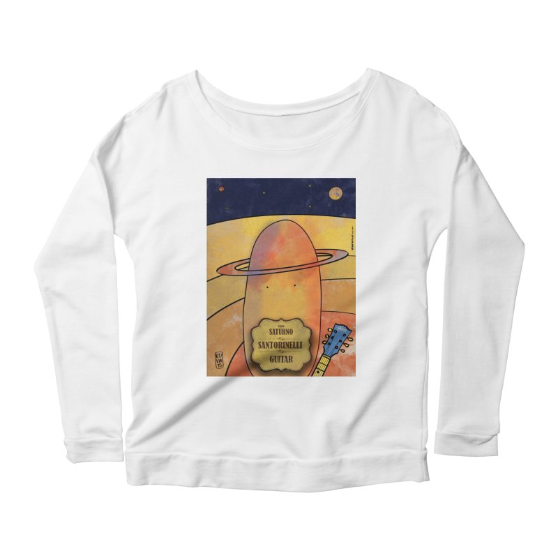 SANTORINELLI_Guitar Women's Scoop Neck Longsleeve T-Shirt by ZEROSTILE'S ARTIST SHOP