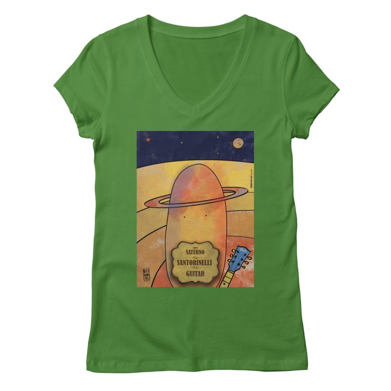 SANTORINELLI_Guitar Women's Regular V-Neck by ZEROSTILE'S ARTIST SHOP