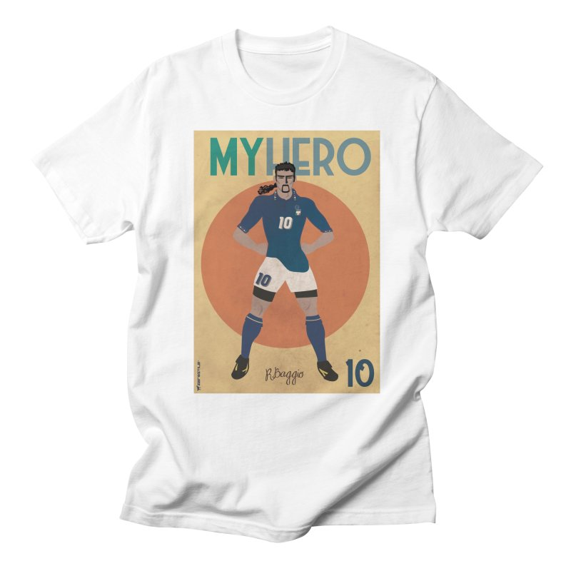 Roberto Baggio My Hero Vintage Edition in Men's T-shirt White by ZEROSTILE'S ARTIST SHOP