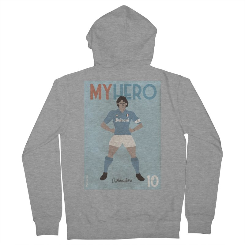 Maradona My Hero Vintage Edition Women's Zip-Up Hoody by ZEROSTILE'S ARTIST SHOP