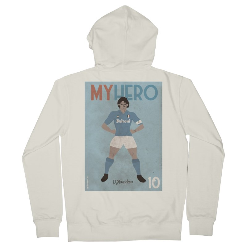 Maradona My Hero Vintage Edition in Men's Zip-Up Hoody Heather Oatmeal by ZEROSTILE'S ARTIST SHOP
