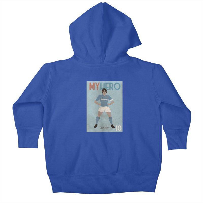 Maradona My Hero Vintage Edition Kids Baby Zip-Up Hoody by ZEROSTILE'S ARTIST SHOP