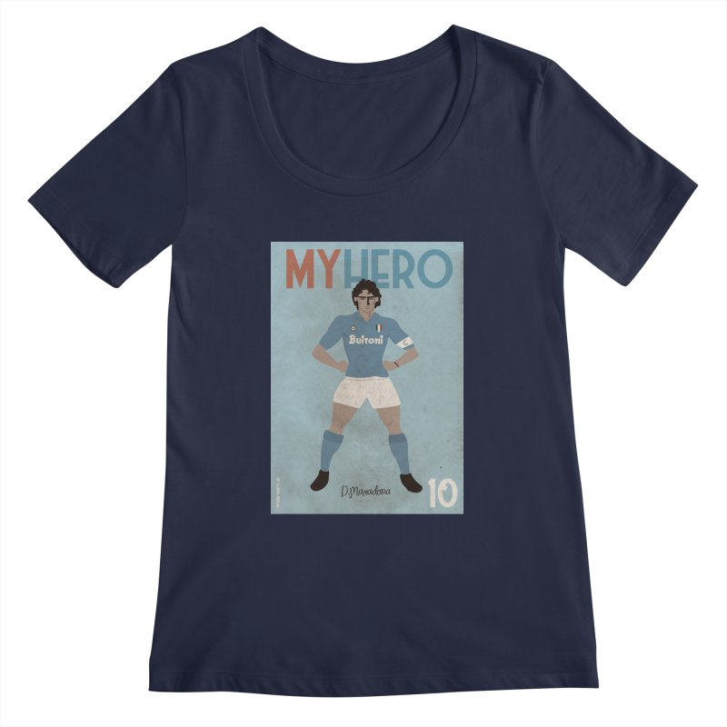 Maradona My Hero Vintage Edition Women's Scoopneck by ZEROSTILE'S ARTIST SHOP