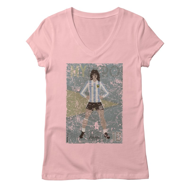 Kempes My Hero Grunge Edt in Women's V-Neck Pink by ZEROSTILE'S ARTIST SHOP