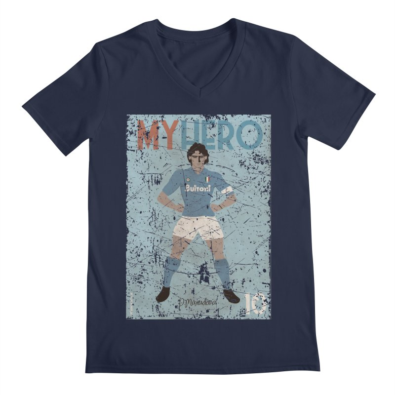 Maradona My Hero Grunge Edt Men's V-Neck by ZEROSTILE'S ARTIST SHOP