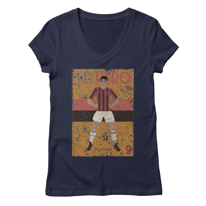 Van Basten My Hero Grunge Edt Women's V-Neck by ZEROSTILE'S ARTIST SHOP
