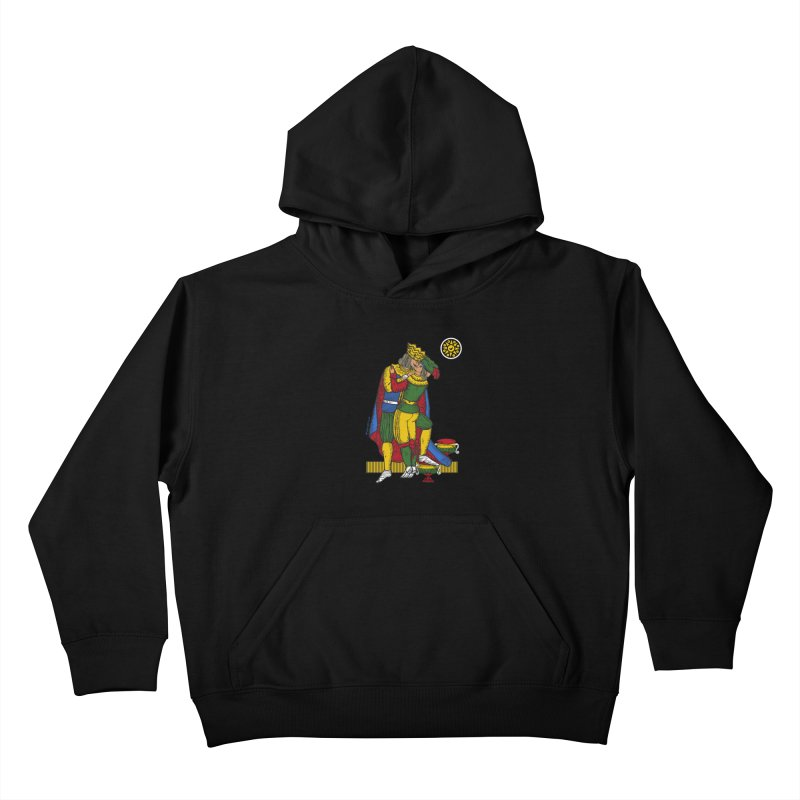 The Kiss - Neapolitan cards Kids Pullover Hoody by ZEROSTILE'S ARTIST SHOP