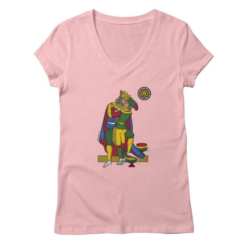 The Kiss - Neapolitan cards Women's V-Neck by ZEROSTILE'S ARTIST SHOP