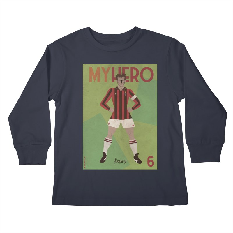 Baresi My Hero Vintage Edition Kids Longsleeve T-Shirt by ZEROSTILE'S ARTIST SHOP