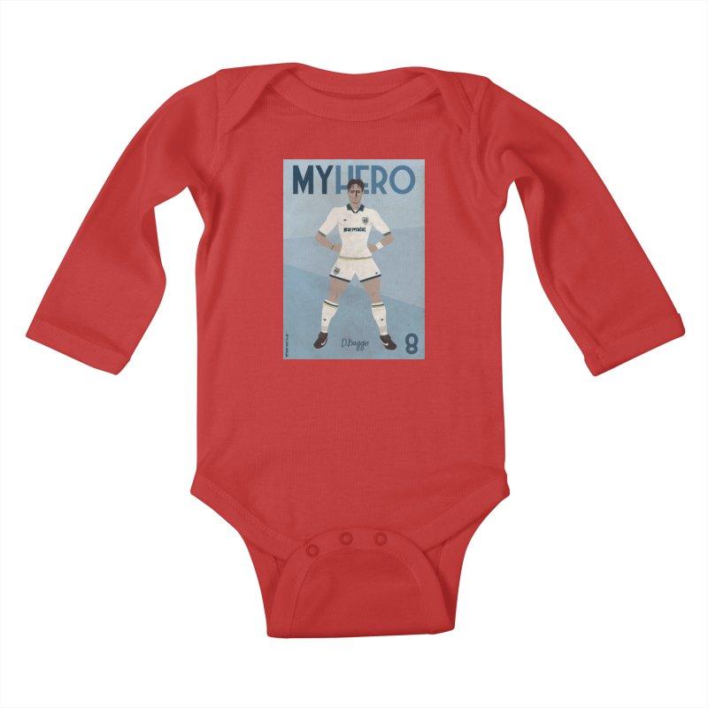 Dino Baggio My Hero Vintage Edition Kids Baby Longsleeve Bodysuit by ZEROSTILE'S ARTIST SHOP
