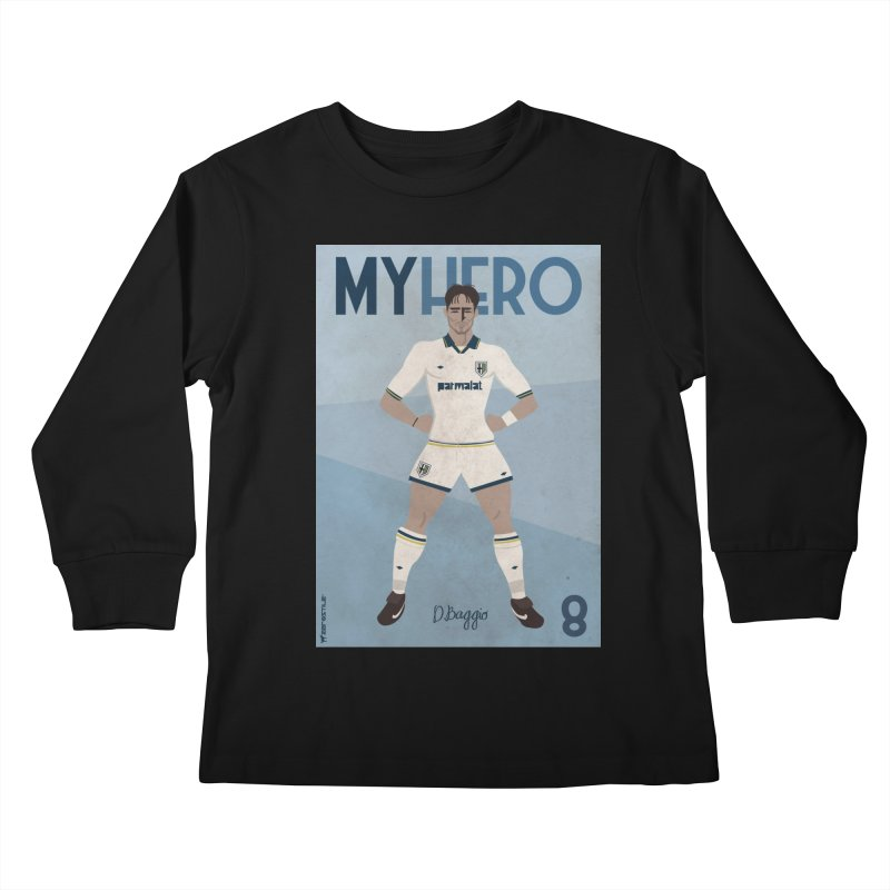 Dino Baggio My Hero Vintage Edition Kids Longsleeve T-Shirt by ZEROSTILE'S ARTIST SHOP