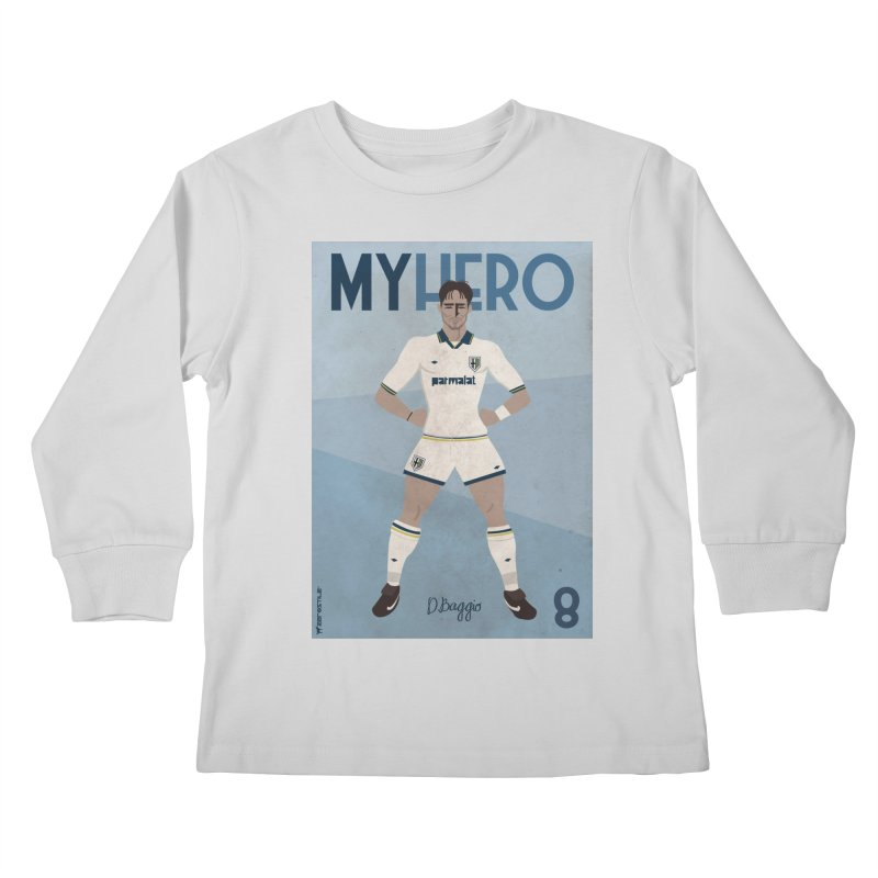 Dino Baggio My Hero Vintage Edition Kids Longsleeve T-Shirt by ZEROSTILE'S ARTIST SHOP