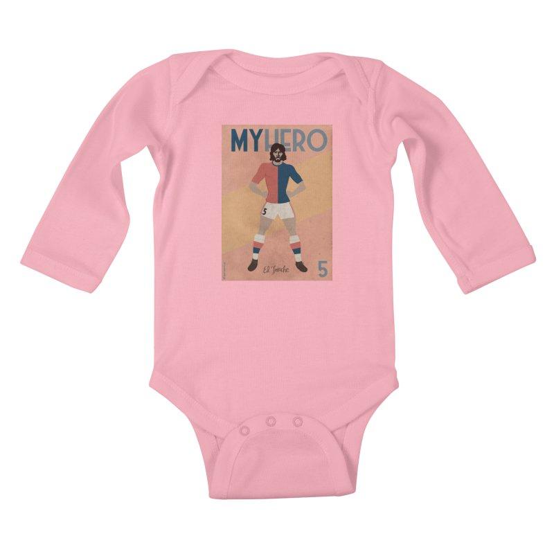 Carlovich EL TRINCHE My hero Vintage Edition Kids Baby Longsleeve Bodysuit by ZEROSTILE'S ARTIST SHOP