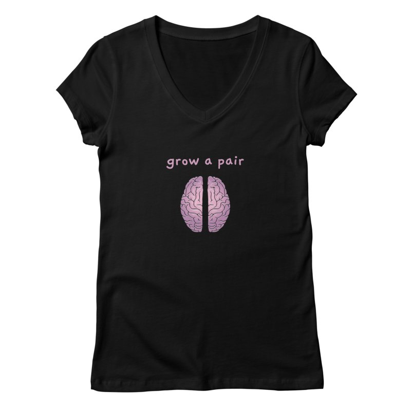 Grow A Pair Women's V-Neck by Zachary Knight | Artist Shop
