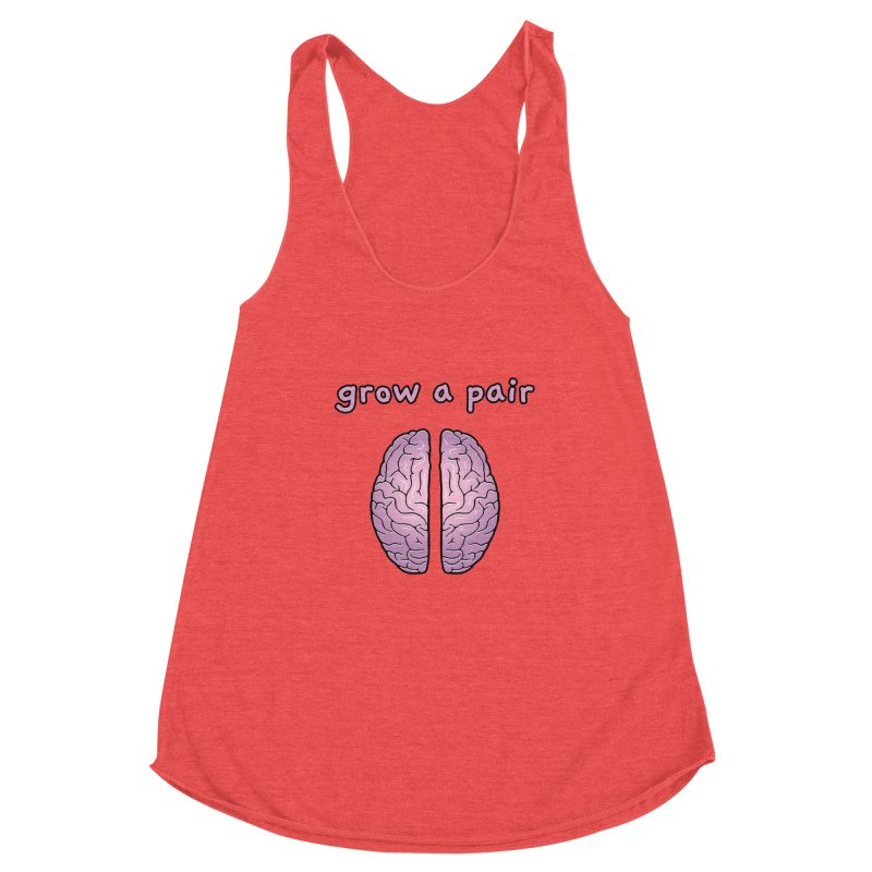 Grow A Pair Women's Racerback Triblend Tank by Zachary Knight | Artist Shop
