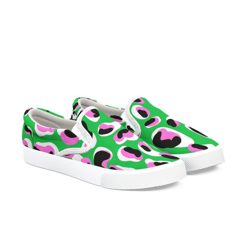 Jangal Leopard (Green + Pink) Women's Shoes by Zonkt's Artist Shop