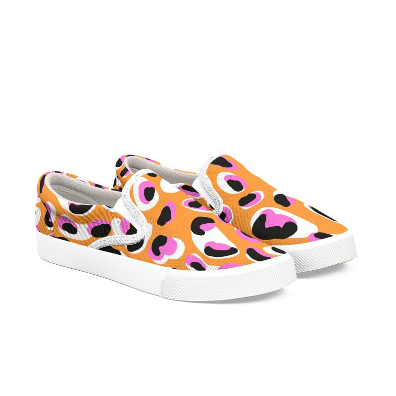 Jangal Leopard (Orange + Pink) Women's Slip-On Shoes by Zonkt's Artist Shop
