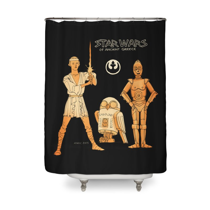 GreekStarWars_R2Bubo Home Shower Curtain by Aaron McConnell's Artist Shop