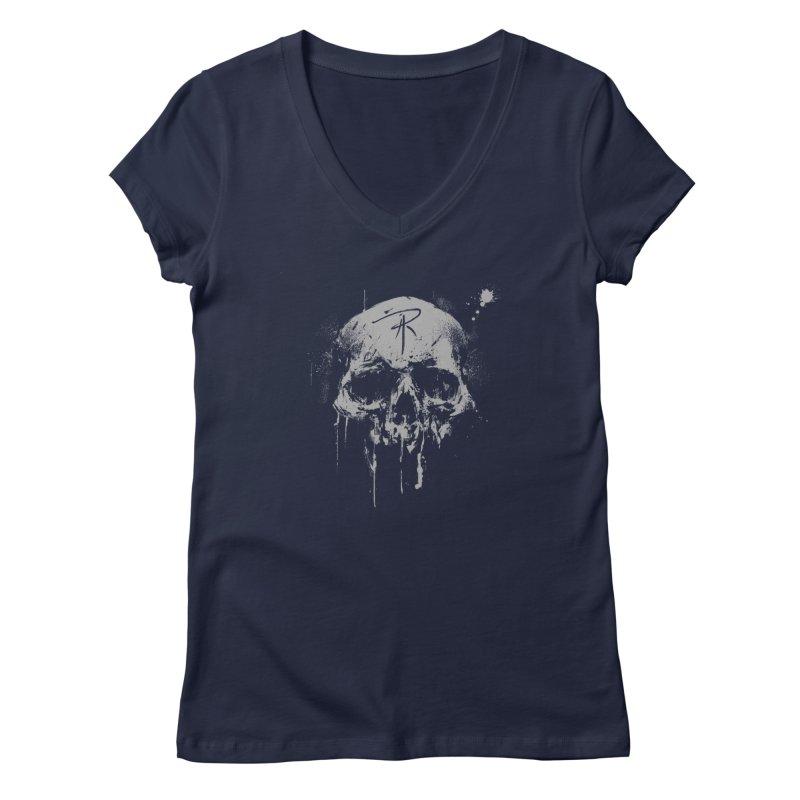 Aaron J. Riley Skull Design Women's Regular V-Neck by aaronjriley's Artist Shop