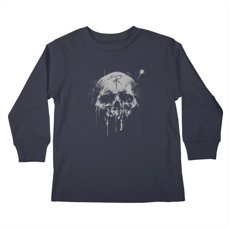 Aaron J. Riley Skull Design Kids Longsleeve T-Shirt by aaronjriley's Artist Shop