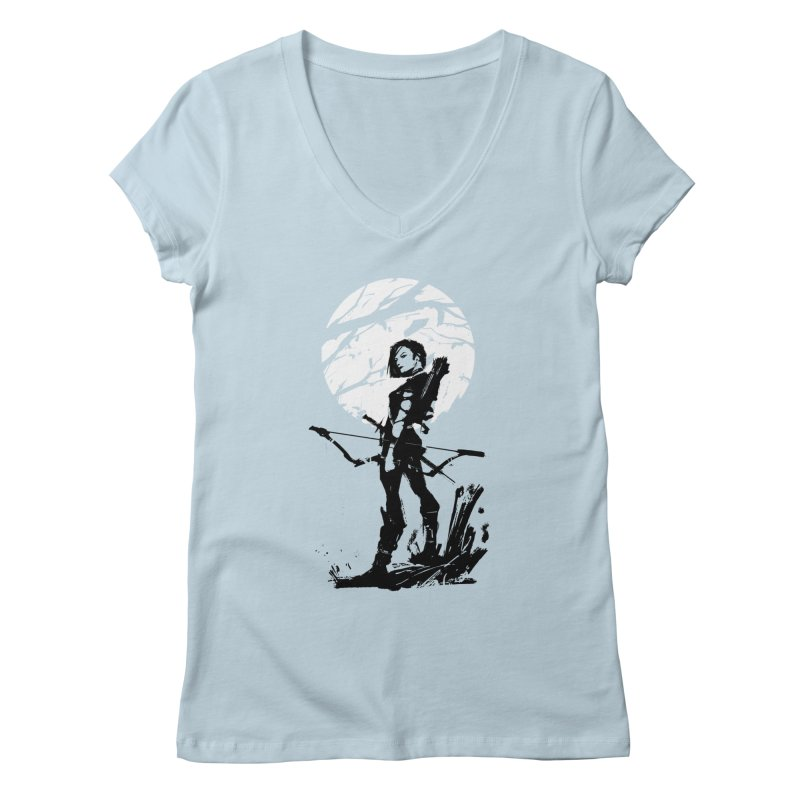Moonlight Hunt Women's V-Neck by aaronjriley's Artist Shop