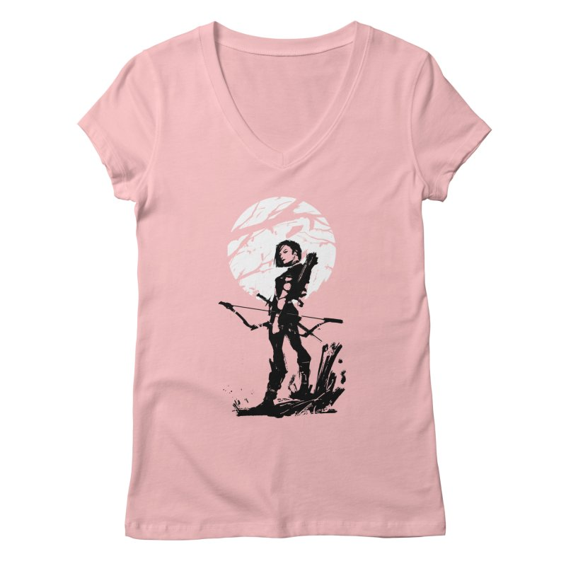 Moonlight Hunt in Women's V-Neck Pink by aaronjriley's Artist Shop