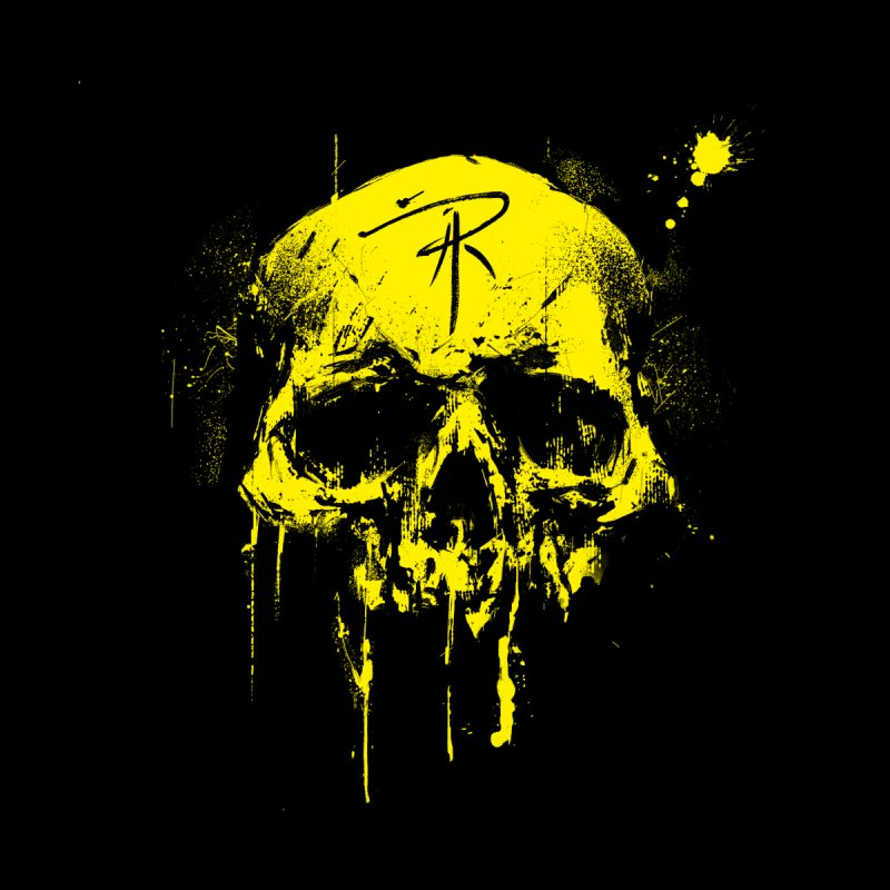 Aaron J. Riley Skull Design Yellow Men's V-Neck by aaronjriley's Artist Shop