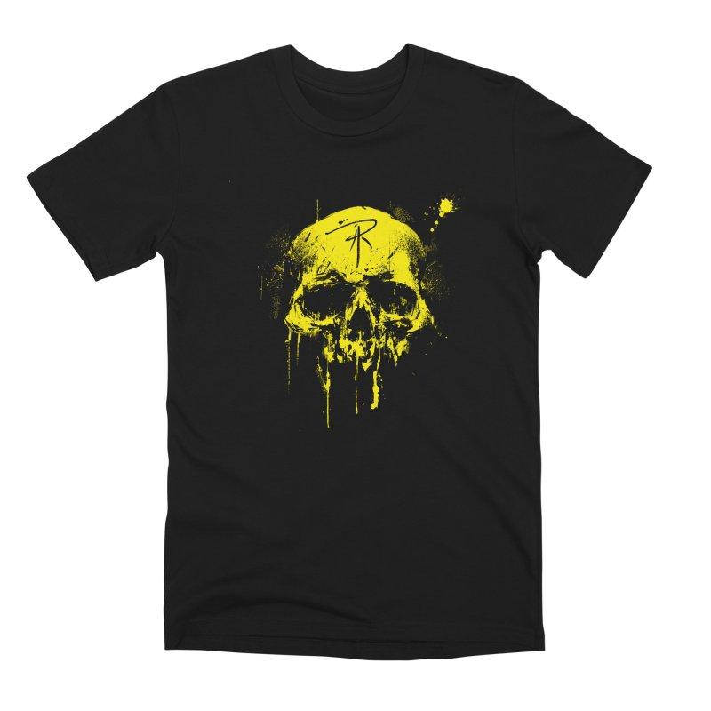 Aaron J. Riley Skull Design Yellow Men's Premium T-Shirt by aaronjriley's Artist Shop