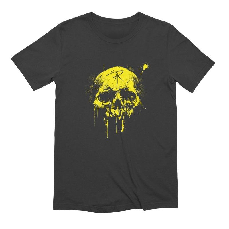 Aaron J. Riley Skull Design Yellow Men's Extra Soft T-Shirt by aaronjriley's Artist Shop