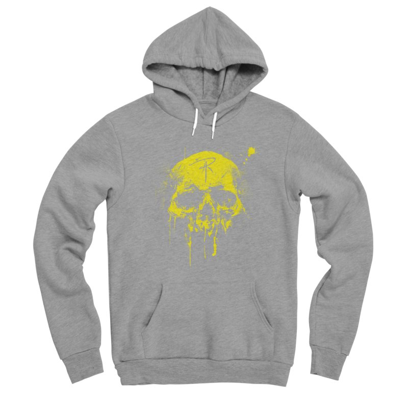 Aaron J. Riley Skull Design Yellow Men's Sponge Fleece Pullover Hoody by aaronjriley's Artist Shop