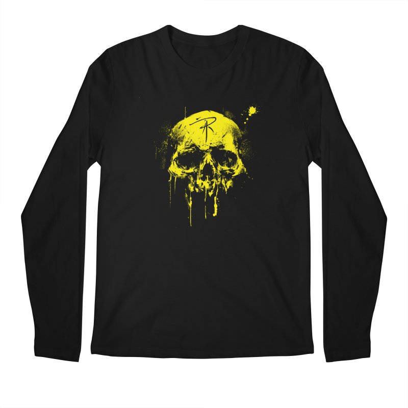 Aaron J. Riley Skull Design Yellow in Men's Regular Longsleeve T-Shirt Black by aaronjriley's Artist Shop