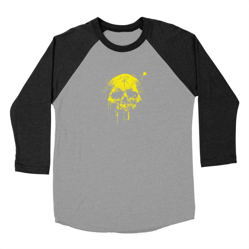 Aaron J. Riley Skull Design Yellow Men's Longsleeve T-Shirt by aaronjriley's Artist Shop