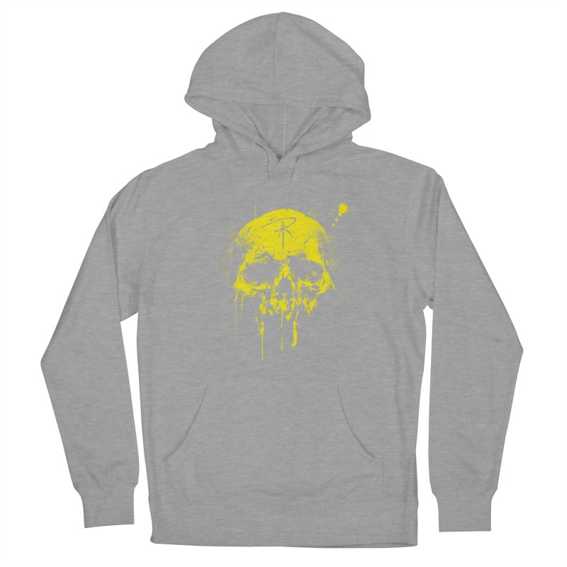 Aaron J. Riley Skull Design Yellow Women's French Terry Pullover Hoody by aaronjriley's Artist Shop