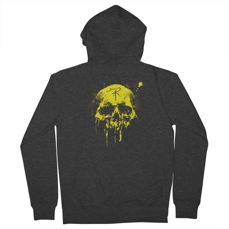 Aaron J. Riley Skull Design Yellow Women's French Terry Zip-Up Hoody by aaronjriley's Artist Shop