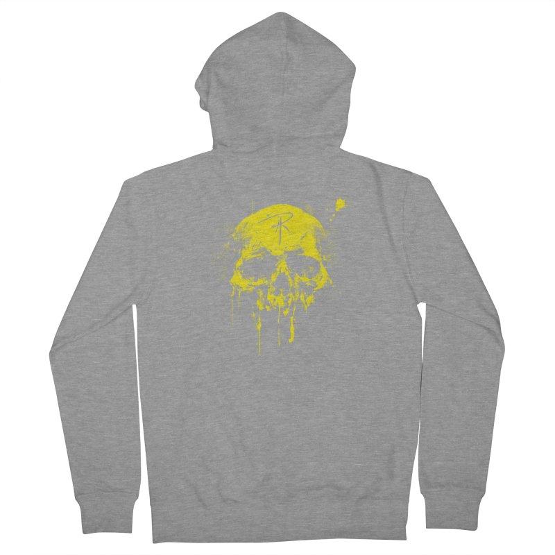 Aaron J. Riley Skull Design Yellow Men's French Terry Zip-Up Hoody by aaronjriley's Artist Shop