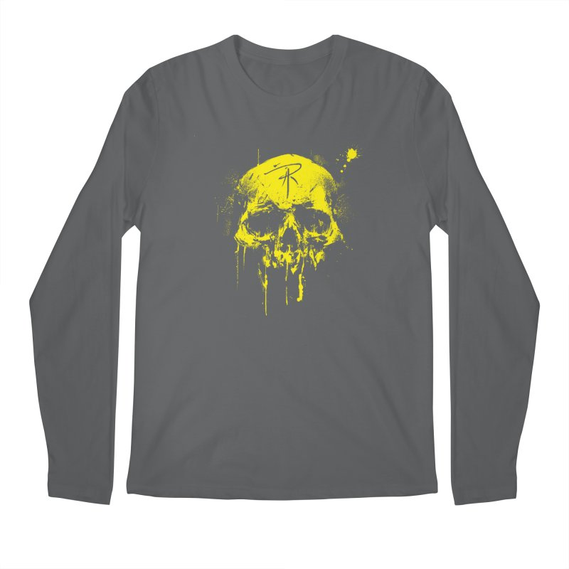 Aaron J. Riley Skull Design Yellow Men's Regular Longsleeve T-Shirt by aaronjriley's Artist Shop