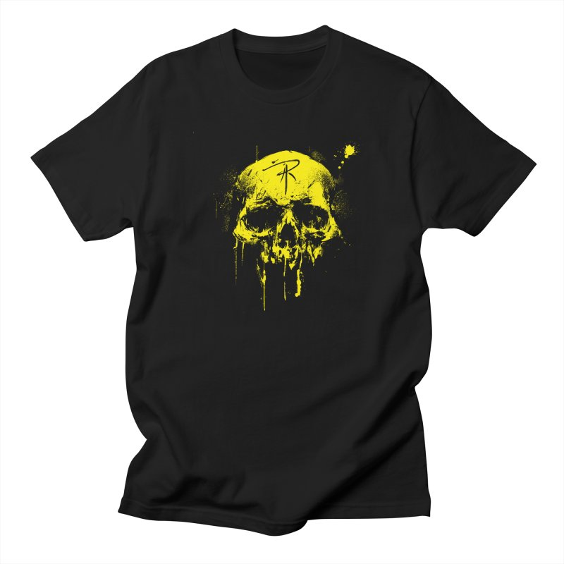 Aaron J. Riley Skull Design Yellow Women's Regular Unisex T-Shirt by aaronjriley's Artist Shop