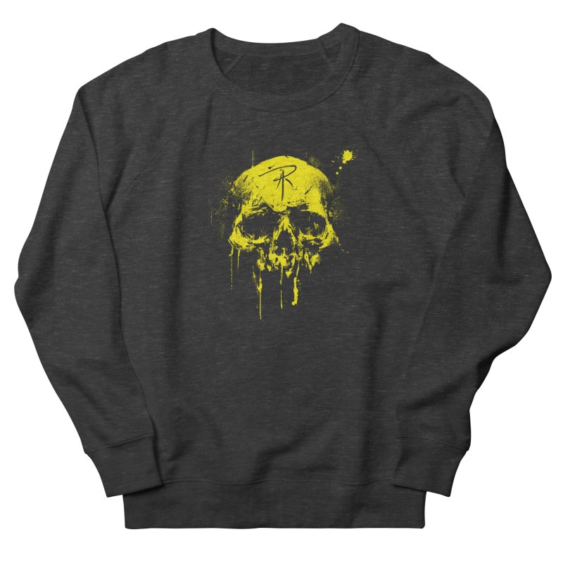 Aaron J. Riley Skull Design Yellow Women's French Terry Sweatshirt by aaronjriley's Artist Shop